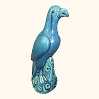 "19th Century Chinese Turquoise Ceramic Parrot 9  1/2"" high"