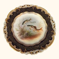 "English George Jones Artist signed Fish Plate  8  1/2 "" diameter"