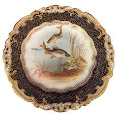 "English George Jones California Roach Fish Plate  8 3/4"" diameter"