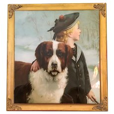 "St Bernard and ""Chum"" Chromolithograph"