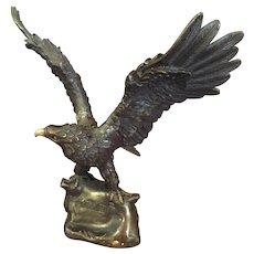 "Signed Japanese Bronze Eagle  11 "" high"