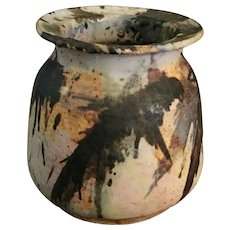 Unique Art Pottery Stoneware Jar Signed