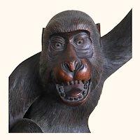 Exquisite Antique Japanese Boxwood Monkey Meiji Period Signed