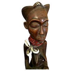 "African Carved Wood Maternity Tribal Figure from Angola   10  3/4"" tall"