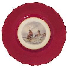 W E J Dean Royal Crown Derby Plate with a sailing ship.