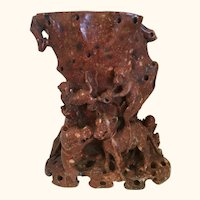 """Chinese Soapstone of Monkeys and Dogs    8  3/4"""" high"""
