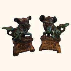 "18-19th Century Chinese Foo lion Dog Joss Stick Holders  7"" tall"