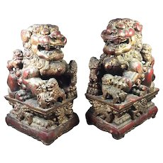"Qing Dynasty Chinese Wood Foo Dog Qilin  Lions   15 "" tall"
