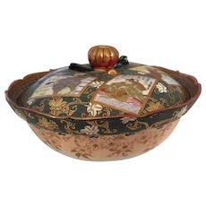 "19th Century Japanese Six Panel Satsuma Bowl 7"" D  Signed"