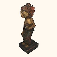"19th Century Asian Wood Female Sculpture 10  1/2"" high"