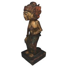 "19th Century Asian Wood Female Sculpture 10  1/2"" high"