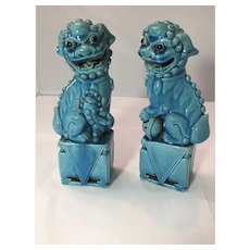 Antique Chinese Turquoise Fo Lions /Dogs