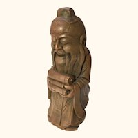 "Chinese Carved Bamboo figure of a Scholar 11  1/2"" tall"