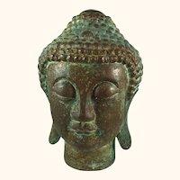 """Chinese Bronze Buddha with Verdigris Finish 10 """" Tall"""