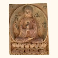 "Asian Earthenware Figural Tile 9  1/2"" tall"