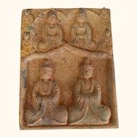 "Asian Earthenware Figural Tile 9  1/2"" tall"