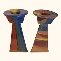 "Art Deco Stoneware Candlesticks  7"" Tall"