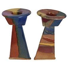 "Art Deco Stoneware Candlesticks  7"" Tall"