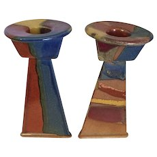Art Pottery Stoneware Candlesticks