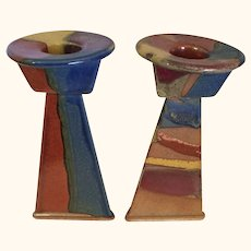 Art Pottery Stoneware Candlesticks
