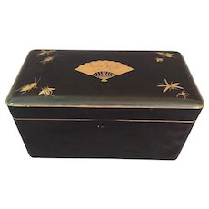 """Japanese Lacquered Box with Fan And Insects 11  1/2"""" long"""