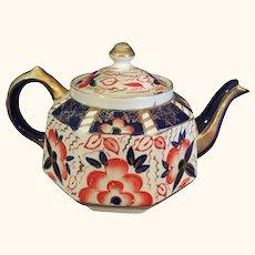 "Old Gaudy Welch English Teapot Imari Style 9"" L"