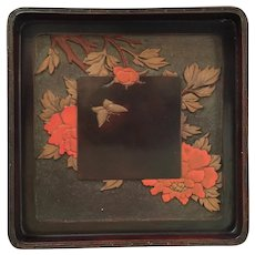 "Antique Japanese Carved and Lacquered Tea Tray 9 1/2"" SQ"