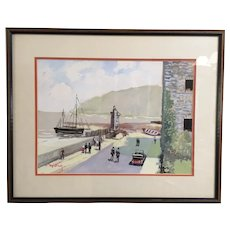 Joseph Pierre Nuyttens Watercolor of Lynmouth Harbor England