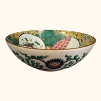 "19th Century Enameled Japanese Porcelain Bowl 9  1/2"" D"