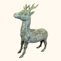 """Archaistic Chinese Bronze Stag/Deer 17  1/2"""" Tall"""