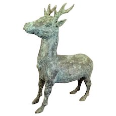 "Archaistic Chinese Bronze Stag/Deer 17  1/2"" Tall"