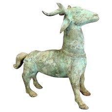 "Chinese Archaistic Bronze  Deer 12"" tall"