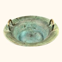 """Chinese Archaistic Two Handled Bronze Bowl 15 1/2"""" D"""