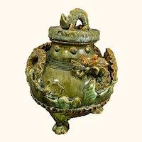 "Chinese Ceramic Green Glazed Dragon Vessel 10"" H"