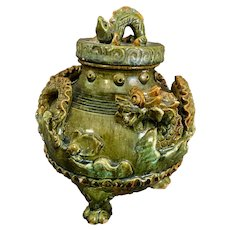 "Chinese Ceramic Green Glazed Dragon Vessel 10"" H"