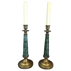 """Pair Bronze and Verdigris Marble Lamps 18 3/4"""" Tall"""