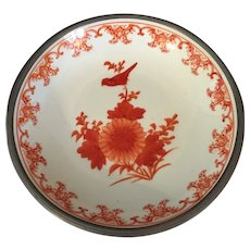 "Chinese  Porcelain Pewter Clad Bowl  8"" Diameter"