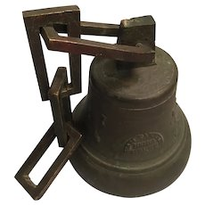 "1908 Bronze Swiss Bell and Chain 7 "" Tall"