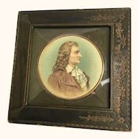 "Miniature Schiller Framed Watercolor 6  1/2"" diameter"