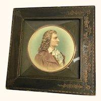 "Miniature Schiller Leather Framed Watercolor 6  1/2"" diameter"