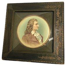 "Miniature Schiller Framed Watercolor 6  1/2"" diameter"