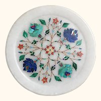 "Indian Floral Pietra Dura Plate/Plaque  6"" diameter"