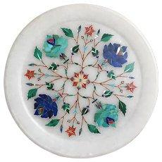 """Indian Floral Pietra Dura Plate/Plaque  6"""" diameter"""