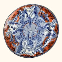"""Sir Henry Dudley Antique Chinese Dragon Plate 10"""" Diameter"""