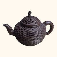 "Chinese Yixing Pottery Tea Pot 3 Marks  3  1/2"" diameter"