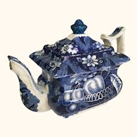 "19th Century Blue & White Tea Pot   9"" long"