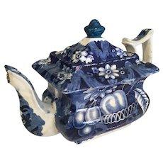 "19th Century Blue & White Tea Pot   9"" long"