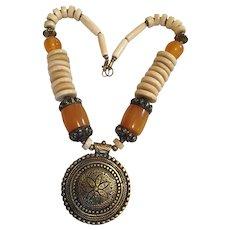 "Tribal Style Amber Bone Brass Necklace 20 "" Long"