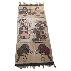 """Pre Columbian or Aztec Style wool wall hanging 70"""" x 31"""""""