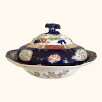 "Masons Imari Style Tureen Antique 10  1/2"" D"